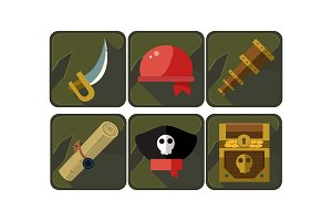 Set of pirate icons. Sword, red