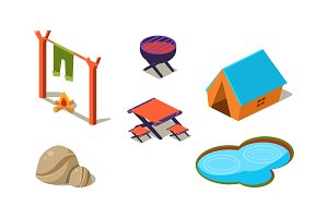 Vector set of isometric icons for