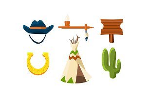 Flat vector set of colorful wild