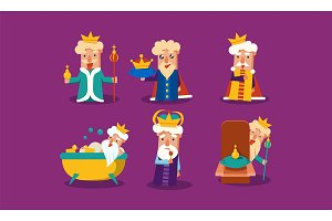 Set of funny king with different