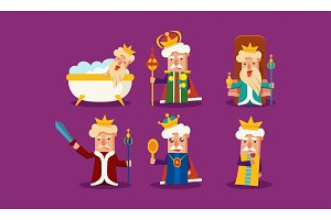 Flat vector set of king in