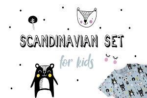 Scandinavian set for kids, pattern