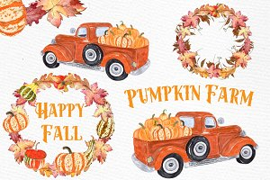 Pumpkin Farm Clipart, Retro Truck