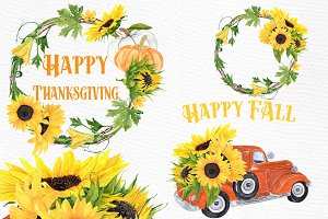 Sunflower clipart,SUNFLOWER WREATHS