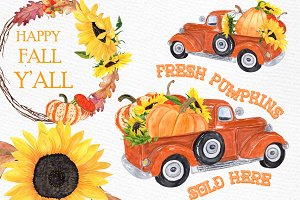 Pumpkin Clipart,TRUCK WITH PUMPKINS