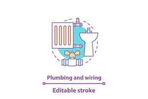 Plumbing and wiring concept icon