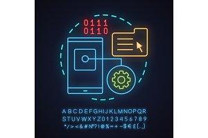 App development neon light icon