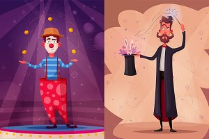 Circus theme. Clown and magician