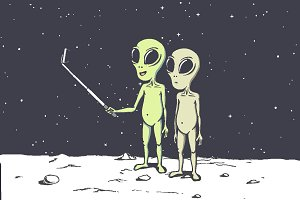 Two aliens make selfie