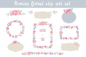 Peonies Floral clip art set
