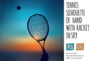 Tennis silhouette with racket