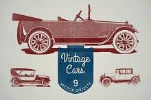 9 Vintage Cars Vectors