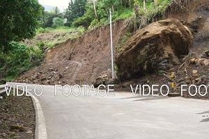 Landslide on the mountain road