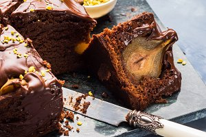 Dark Chocolate cake with pears and p