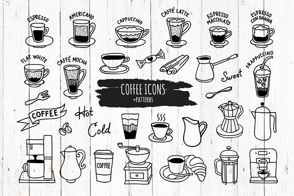 Hand drawn coffee icons and pattern…