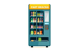 Vending food drink machine. Chips