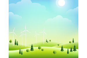 Wind farm and trees in green hills