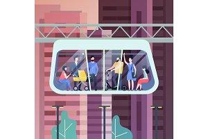People at futuristic carriage