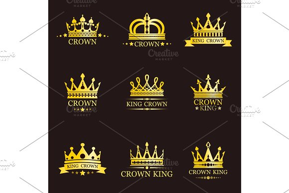 King Or Queen Crowns For Brand Illustrations Creative Market
