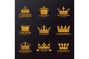 Set of isolated golden crowns