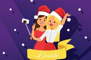 Christmas girls party vector poster