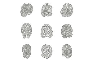 Set of isolated fingerprints