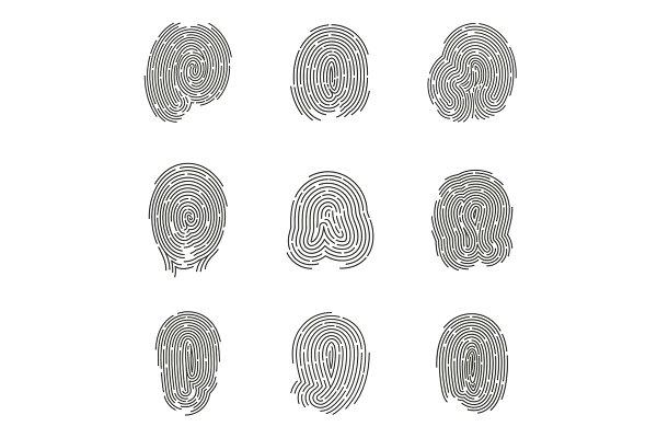 Set of isolated fingerprints