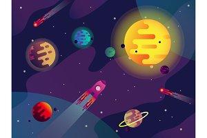Galaxy or cosmos, sun, planets