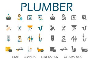 Plumber icons and web vector set