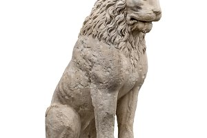 Isolated Lion Sculpture Perspective
