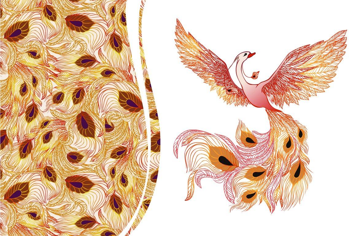 phoenix bird seamless pattern illustrations creative market