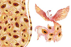 Phoenix bird + seamless pattern