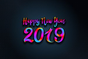 2019 Rainbow happy new year vector