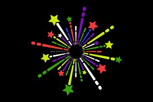 Exploding Fireworks Icons Set