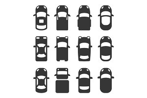 Car Top View Icons Set