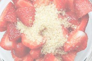 Strawberry, soft faded tone backgrou