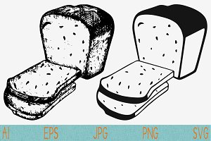 slices bread svg set vector png eps