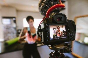 Social media influencer recording