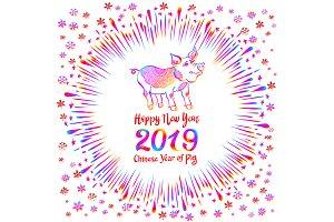 2019 Zodiac Rainbow Pig. happy new