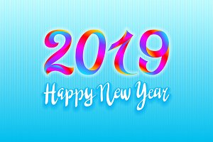 2019 Rainbow happy new year vector