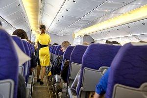 blurred flying attendants ,air hoste