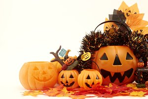 Decorate Halloween party on white