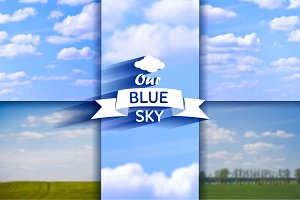 6 blurred cloudy sky backgrounds set