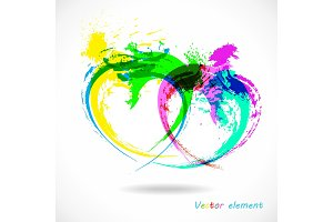 Colorful Grunge Heart. Splash