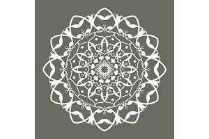 White floral round decorative symbol