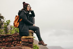Woman traveler on mountain