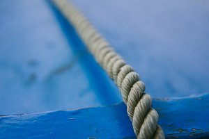 Close up of a rope in a boat