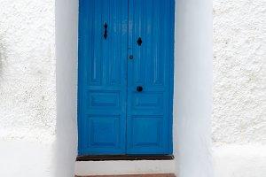 house door painted in blue