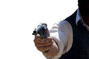 wild west cowboy aiming his gun isol