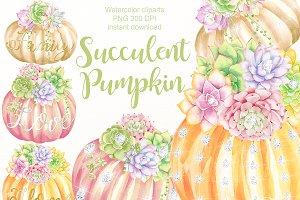 Pumpkins and succulents clipart